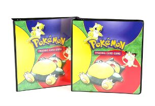 Pokemon. Two A4 Ultra Pro Base Set ring binders, empty but with the insert check sheets for the
