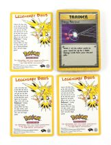 Pokemon. Sealed pack of Pokemon cards and three legendary birds cards. The vendor formally worked