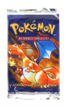 Pokemon TCG sealed Base Set Booster pack, Charizard artwork. The vendor formerly owned a gift shop