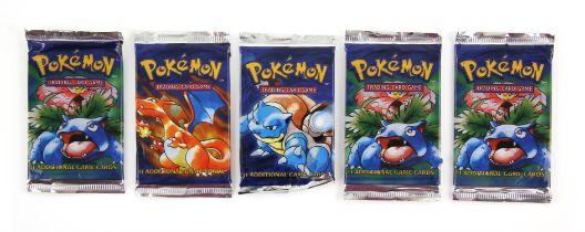 Pokemon TCG sealed Base Set Booster packs, x1 Charizard artwork, x1 Blastiose artwork,