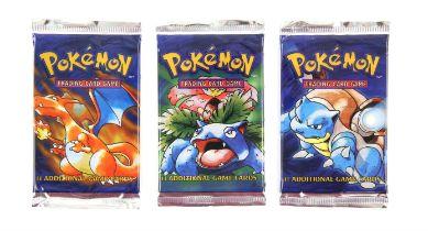 Pokemon TCG Base Set artwork display, three sealed Base Set Booster packs - complete artwork set: