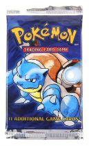 Pokemon TCG sealed Base Set Booster pack, Blastoise artwork. The vendor formerly owned a gift shop