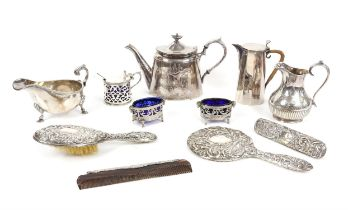 Silver hand mirror, Birmingham 1992, brushes and comb, together with plated items