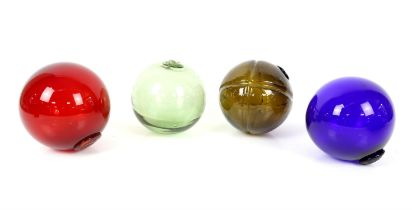 4 coloured glass fishing floats approx diameter 14cm, table top two drawer cabinet 23.5cm h and 14.