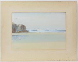 R. D. Sherrin, seaside landscape. Watercolour. Signed lower left. Image size 25 x 36cm.