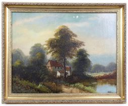 W Haines (19th/20th century). Cottage beneath trees, Oil on board signed lower right. 52 x 44cm.