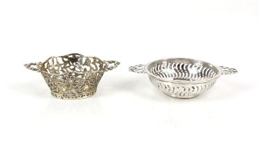 Two silver bon bon dishes one in the form of a porringer bowl, Birmingham 1913 and a flower basket