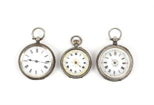 Three silver fob watches, two English hallmarked and one Swiss 935 grade hallmarked