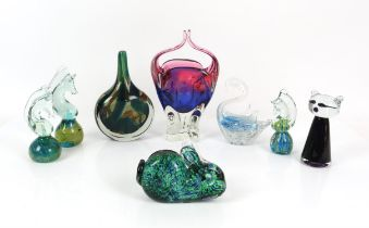 Large collection of glass paperweights over 50, to include Mdina and Caithness , 2 boxed Mdina
