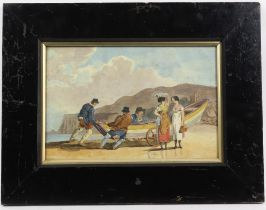 Set of pictures, to include J. Foster, watercolour depicting fishermen taking rowing boat out to