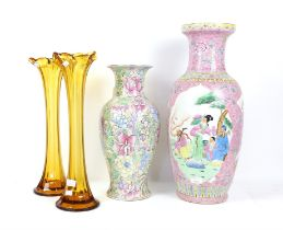 Large Chinese vase with vignettes on pink ground 61cm a modern Chinese vase flowers and foliage,