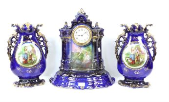 Porcelain mantel clock garniture architectural form two peasant women to front on a midnight blue
