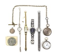 800 Grade silver pocket watch, another pocket watch with a silvered dial, a silver gold medallion,