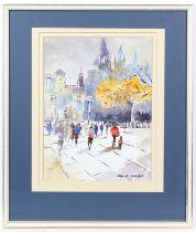 Sera M. Knight (British, contemporary), London street scene. Watercolour. Signed lower right.