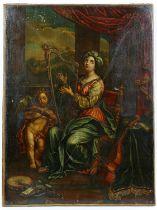 AMENDED DESCRIPTION European school, portrait of a Renaissance lady playing a harp.
