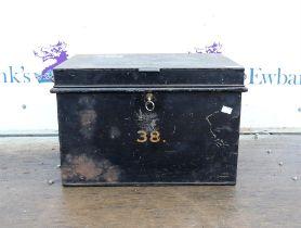 Mid 20th century metal box with key, h33cm w49cm d35cm