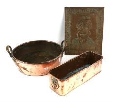 Copper jam pan, embossed picture of man wearing a turban and a rectangular copper pan, (3),