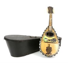 Mandolin with mother of pearl inlaid decoration, cased, h61cm