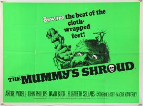 The Mummys Shroud (1967) British Quad film Poster, Hammer Horror, folded, 30 x 40 inches.