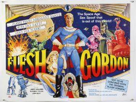 Flesh Gordon (1974) British Quad film poster, directed by Howard Ziehm and Michael Benveniste,