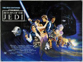 Star Wars The Return Of The Jedi (1983) British Quad film poster, artwork by Josh Kirby, folded,