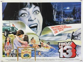 Friday The 13th (1980) British Quad film poster, Horror, folded, 30 x 40 inches.