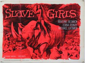 Slave Girls (1967) British Quad film poster, signed by Martine Beswick and Edina Roney,