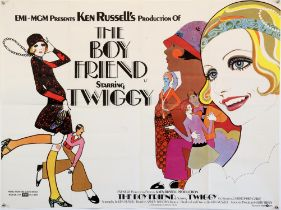 The Boyfriend (1971) UK Quad poster, Style B, for the Ken Russell musical starring Twiggy, folded,