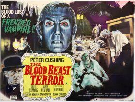 The Blood Beast Terror (1967) British Quad film poster, starring Christopher Lee, folded,