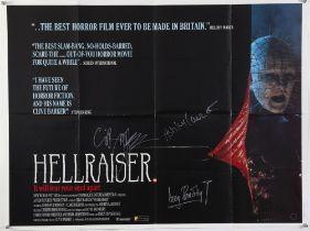 Hellraiser (1987) British Quad film poster, signed by Doug Bradley, Ashley Laurence,