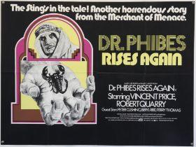 Dr. Phibes Rises Again (1972) British Quad film poster, Horror starring Vincent Price & Peter