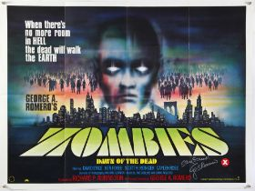 Zombies Dawn of the Dead (1979) British Quad film poster, Horror written & directed and signed by