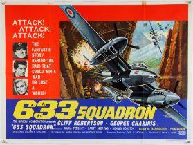 633 Squadron (1964) British Quad film poster starring Cliff Robertson, George Chakiris and