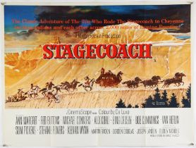 Stagecoach (1966) British Quad film poster, artwork by Norman Rockwell, Western, folded,