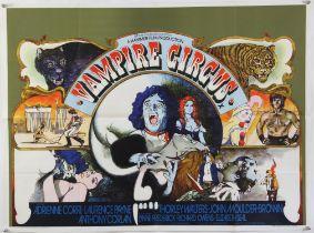 Vampire Circus (1972) British Quad film poster for the Hammer horror film featuring the infamous