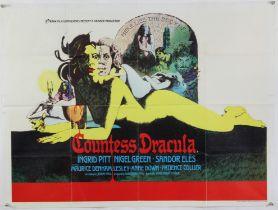 Countess Dracula (1971) British Quad film poster, Hammer Horror film starring Ingrid Pitt & Lesley