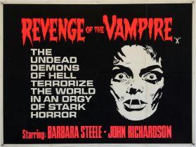 Revenge of The Vampire (1961) British Quad film poster, starring Barbara Steele, folded,
