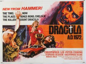 Dracula A.D. 1972 (1972) British Quad film poster, starring Peter Cushing & Christopher Lee,
