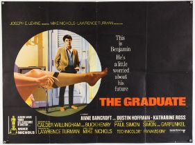 """The Graduate (1967) British Quad film poster this being the first release """"X"""" certificate Oscars"""