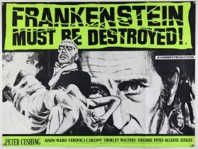 Frankenstein Must Be Destroyed (1970s) British Quad re-release film poster, artwork by Tom