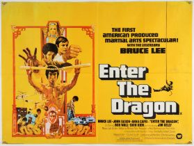 Enter The Dragon (1973) British Quad film poster, starring Bruce Lee, folded, 30 x 40 inches.