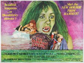 The Vampire Lovers (1970) British Quad film poster starring Ingrid Pitt & Peter Cushing,