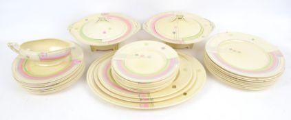 Art Deco Myott & Sons hand-painted part dinner service, comprising eight dinner plates 25cm