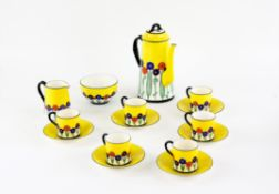 Art Deco Royal Worcester coffee set, comprising coffee pot, six cups and six saucers,
