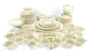 Susie Cooper Green Wedding Band part dinner service, comprising twelve dinner plates, diameter 25cm,