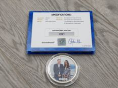 UK SILVER 2 OUNCE MEDALLION FOR THE 2014 ROYAL TOUR IN ORIGINAL CASE WITH CERTIFICATE OF