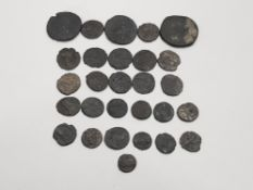 28 ROMAN COINS IN BLUE DISPLAY CASE ALL GENUINE
