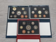 3 ROYAL MINT PROOF SETS INCLUDES DATES SUCH AS 1993 1995 AND 1996 ALL IN ORIGINAL CASES WITH