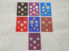 7 ROYAL MINT UK PROOF SETS 1970 71 72 77 79 80 AND 81 ALL IN ORIGINAL MINT PACKAGING
