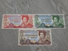 3 FALKLAND ISLAND BANKNOTES COMPRISING 2005 £5 2011 £10 AND 2011 £20